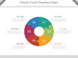 apt Six Staged Puzzle Circle Timeline Chart Flat Powerpoint Design
