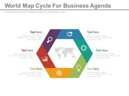 apt Six Staged World Map Cycle For Business Agenda Flat Powerpoint Design