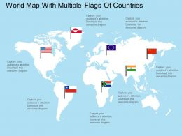 apt World Map With Multiple Flags Of Countries Flat Powerpoint Design
