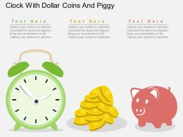 aq Clock With Dollar Coins And Piggy Flat Powerpoint Design
