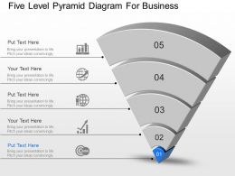 Aq Five Level Pyramid Diagram For Business Powerpoint Template Slide