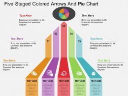 aq Five Staged Colored Arrows And Pie Chart Flat Powerpoint Design