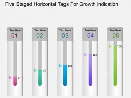 Aq Five Staged Horizontal Tags For Growth Indication Powerpoint Template