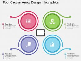 aq Four Circular Arrow Design Infographics Flat Powerpoint Design