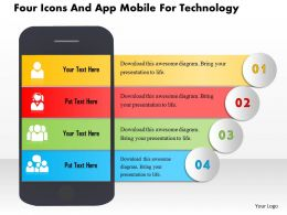 Aq Four Icons And App Mobile For Technology Powerpoint Templets