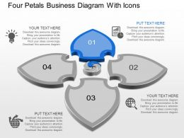 Aq Four Petals Business Diagram With Icons Powerpoint Template