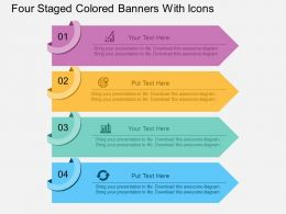 aq Four Staged Colored Banners With Icons Flat Powerpoint Design
