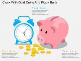 ar Clock With Gold Coins And Piggy Bank Flat Powerpoint Design