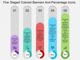ar Five Staged Colored Banners And Percentage Icons Flat Powerpoint Design