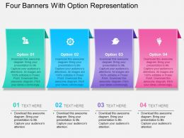 Ar Four Banners With Option Representation Powerpoint Template