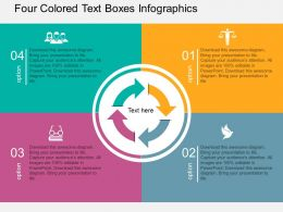 ar Four Colored Text Boxes Infographics Flat Powerpoint Design