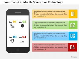 Ar Four Icons On Mobile Screen For Technology Powerpoint Templets