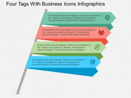ar Four Tags With Business Icons Infographics Flat Powerpoint Design
