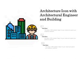 Architecture Icon With Architectural Engineer And Building