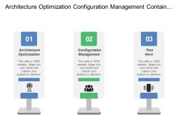 Architecture Optimization Configuration Management Container Cluster Management Container Runtime