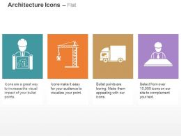 Architecture Plan Crane Shipping Truck Plan Ppt Icons Graphics