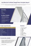 Architecture Portfolio Design Work Samples Report Presentation Report Infographic PPT PDF Document