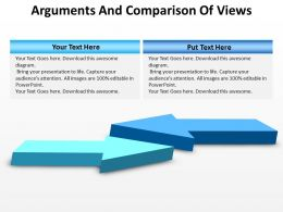 arguments comparison of views 3d arrows pointing towards each other powerpoint templates 0712