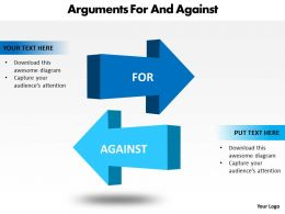 arguments for and against shown by 3d arrows powerpoint diagram templates graphics 712