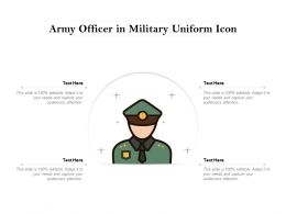 Army Officer In Military Uniform Icon