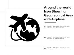 Around The World Icon Showing Geographical Area With Airplane