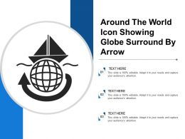 Around The World Icon Showing Globe Surround By Arrow