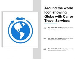 Around The World Icon Showing Globe With Car Or Travel Services