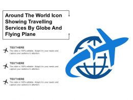Around The World Icon Showing Travelling Services By Globe And Flying Plane
