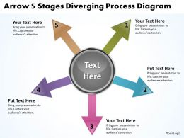 arrow 5 stages diverging process diagram Circular Flow Network PowerPoint Slides