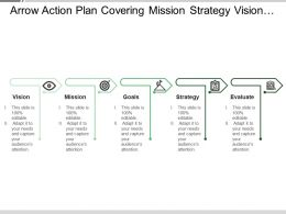 arrow_action_plan_covering_mission_strategy_vision_goals_and_evaluation_Slide01