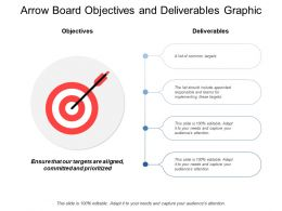 Arrow Board Objectives And Deliverables Graphic