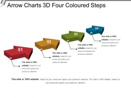 Arrow Charts 3d Four Coloured Steps