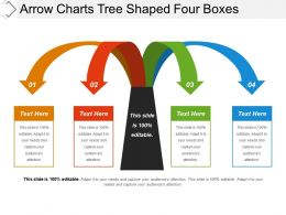 Arrow Charts Tree Shaped Four Boxes