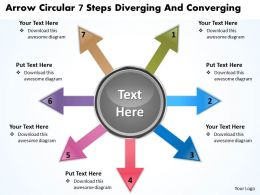 arrow circular 7 steps diverging and converging Arrows Network Software PowerPoint templates