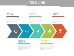 Arrow Design Timeline With Business Icons Powerpoint Slides
