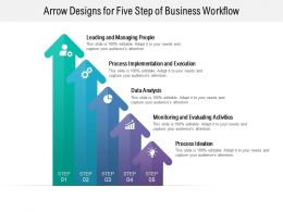 Arrow Designs For Five Step Of Business Workflow