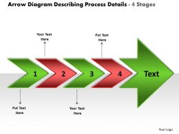 Arrow Diagram Describing Process Details 4 Stages Free Flowchart Program Powerpoint Templates