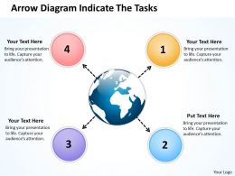 arrow diagram indicate the tasks Charts and Networks PowerPoint templates