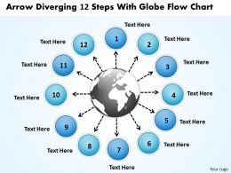 arrow diverging 12 steps with globe flow chart Arrows Network Software PowerPoint templates