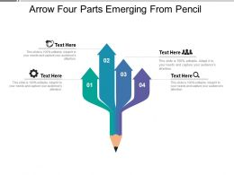 Arrow Four Parts Emerging From Pencil
