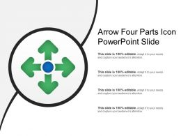 Arrow Four Parts Icon Powerpoint Slide