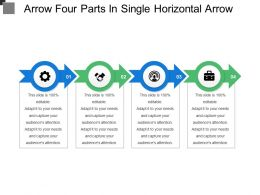 Arrow Four Parts In Single Horizontal Arrow