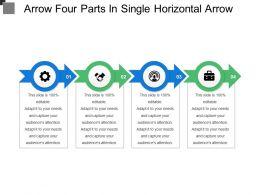 Arrow Four Parts In Single Horizontal Arrow