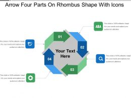 Arrow Four Parts On Rhombus Shape With Icons