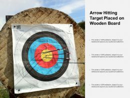 Arrow Hitting Target Placed On Wooden Board