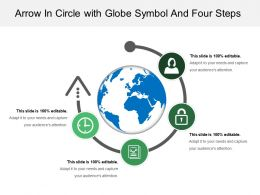 Arrow In Circle With Globe Symbol And Three Steps