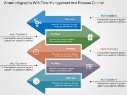 Arrow Infographic With Time Management And Process Control Flat Powerpoint Design