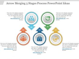 Arrow Merging 5 Stages Process Powerpoint Ideas