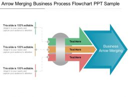 Arrow Merging Business Process Flowchart Ppt Sample