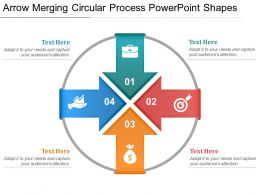 Arrow Merging Circular Process Powerpoint Shapes